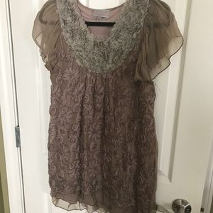 Brown Sheer Dress with Flower Detail